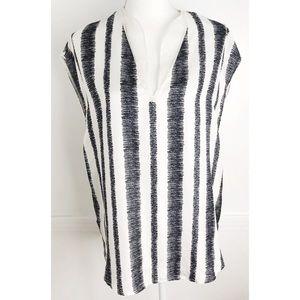 3.1 Phillip Lim • 100% Silk Black White Stripe Top